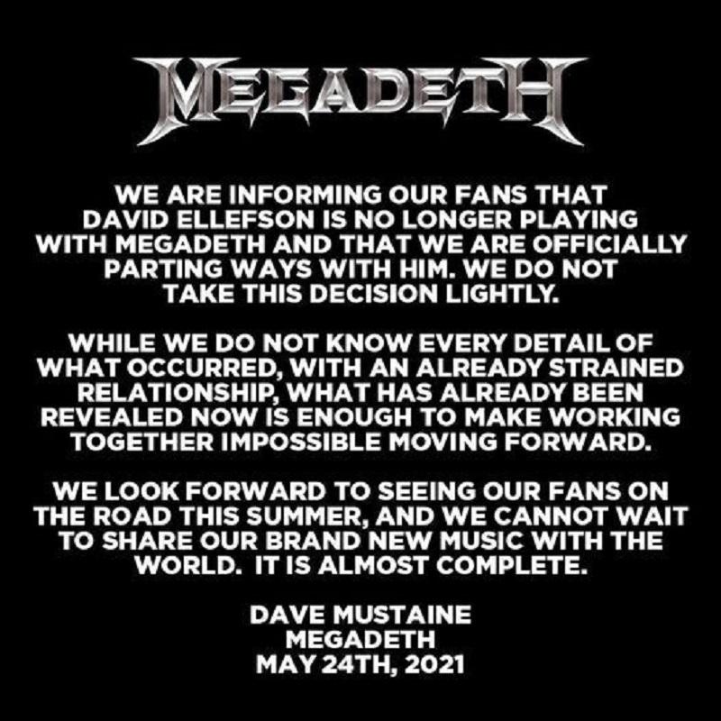 David Ellefson part ways with Megadeth